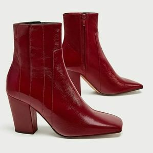 Red Geniune Leather Ankle Boots
